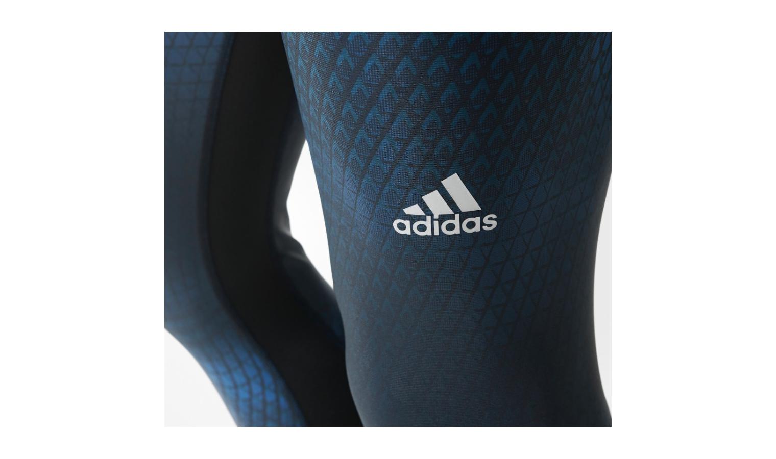 Pánske športové legíny adidas TECHFIT CHILL GRAPHIC LONG TIGHT modré ... ef439760fa4